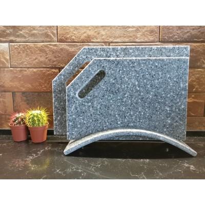 """Набор разделочных досок из искусственного камня на подставке """"Pebble Grey"""""""