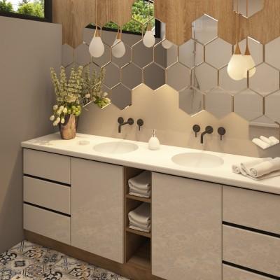 Мебель  в ванную с тумбой и двумя раковинами