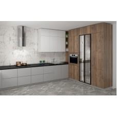Угловая кухня с фасадами из ЛДСП и стеклянными фасадами без верхних шкафчиков
