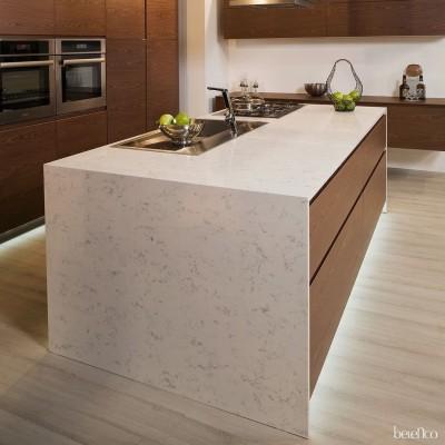 Столешница из кварца для кухни. Fairy White 4227