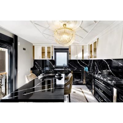 Столешница из кварца для кухни. Marquina Lavagna 9719